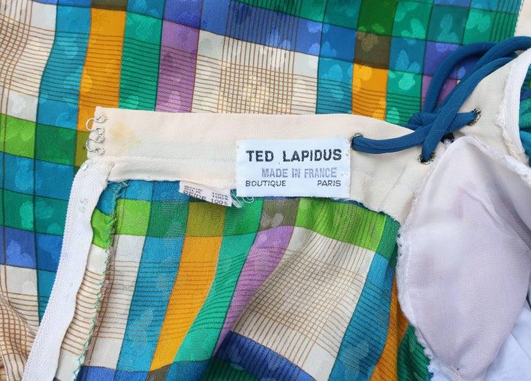 Lovely Laces 1970's Ted Lapidus Silk Jacquard Plaid Dress For Sale 5