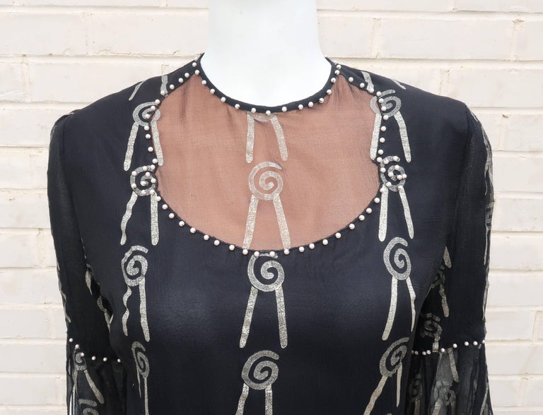 Fab 1970's Zandra Rhodes Hand Painted Black & Silver Silk Chiffon Dress 2