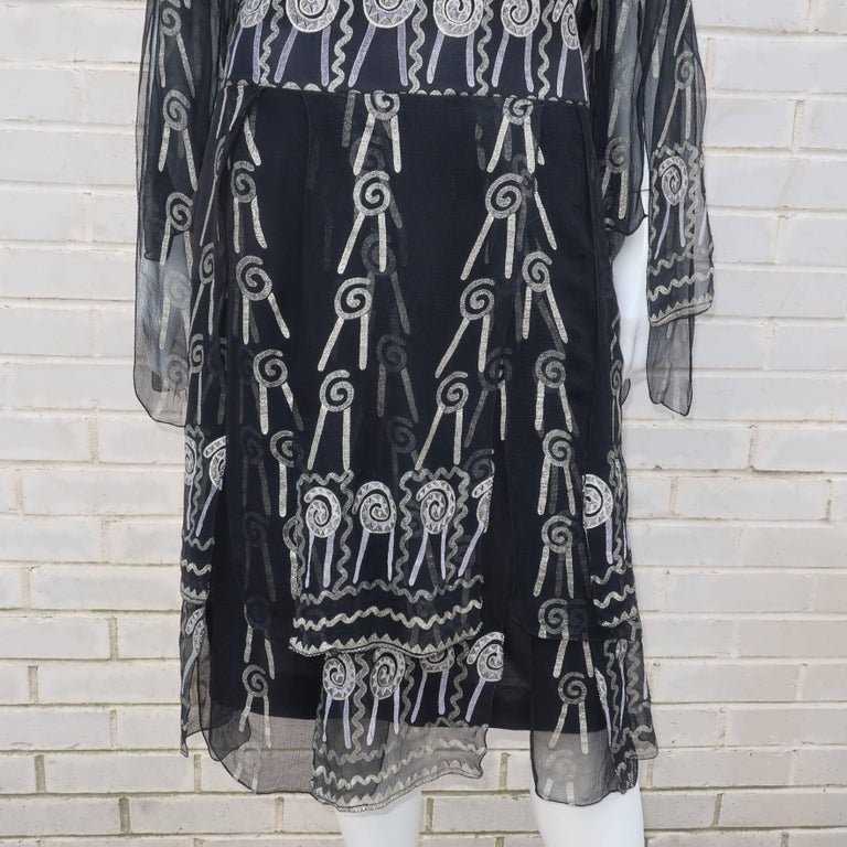 Fab 1970's Zandra Rhodes Hand Painted Black & Silver Silk Chiffon Dress 3