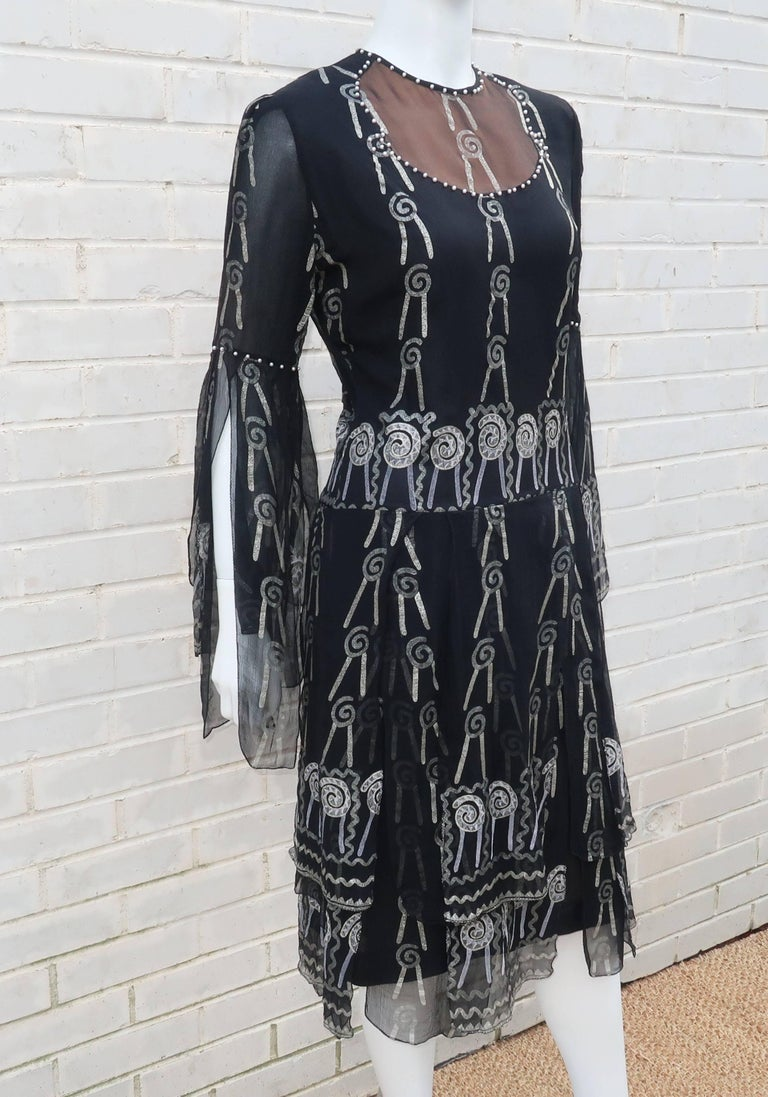 Fab 1970's Zandra Rhodes Hand Painted Black & Silver Silk Chiffon Dress 4