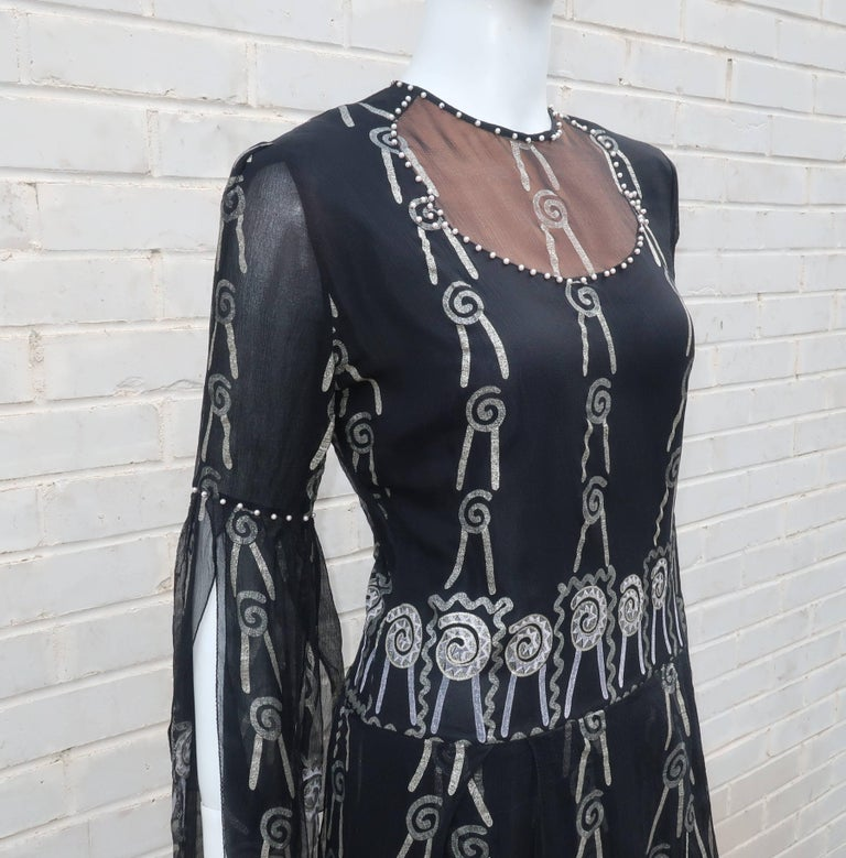 Fab 1970's Zandra Rhodes Hand Painted Black & Silver Silk Chiffon Dress 5