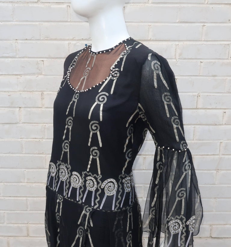 Fab 1970's Zandra Rhodes Hand Painted Black & Silver Silk Chiffon Dress 7