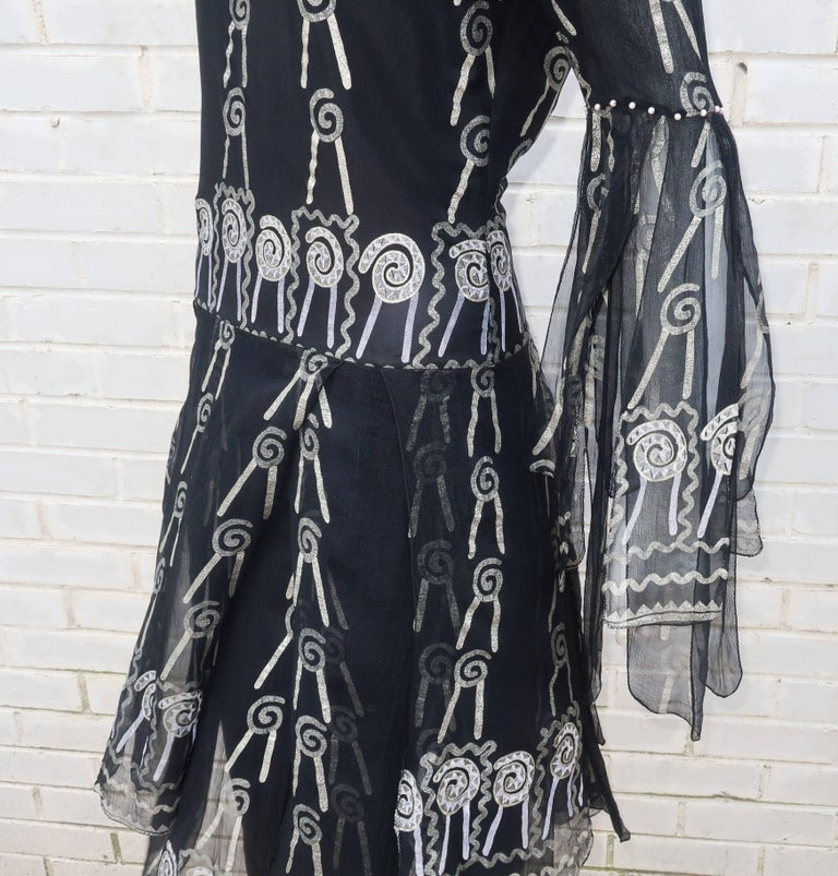 Fab 1970's Zandra Rhodes Hand Painted Black & Silver Silk Chiffon Dress 8