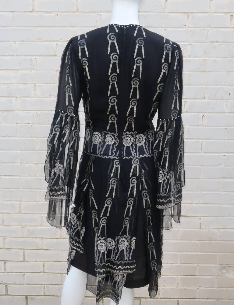 Fab 1970's Zandra Rhodes Hand Painted Black & Silver Silk Chiffon Dress 9