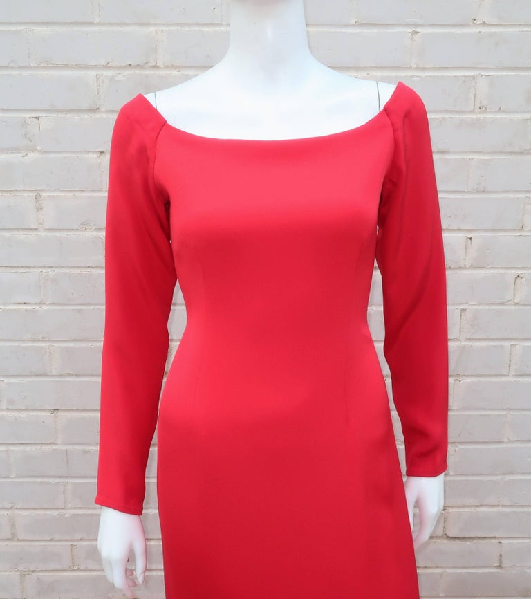 1980's Bill Blass Lipstick Red Silk Evening Dress In Excellent Condition For Sale In Atlanta, GA