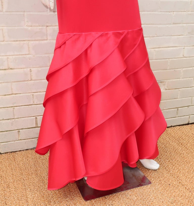 1980's Bill Blass Lipstick Red Silk Evening Dress For Sale 2