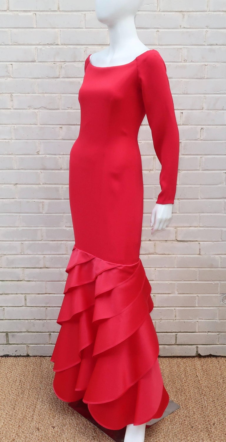 1980's Bill Blass Lipstick Red Silk Evening Dress For Sale 4