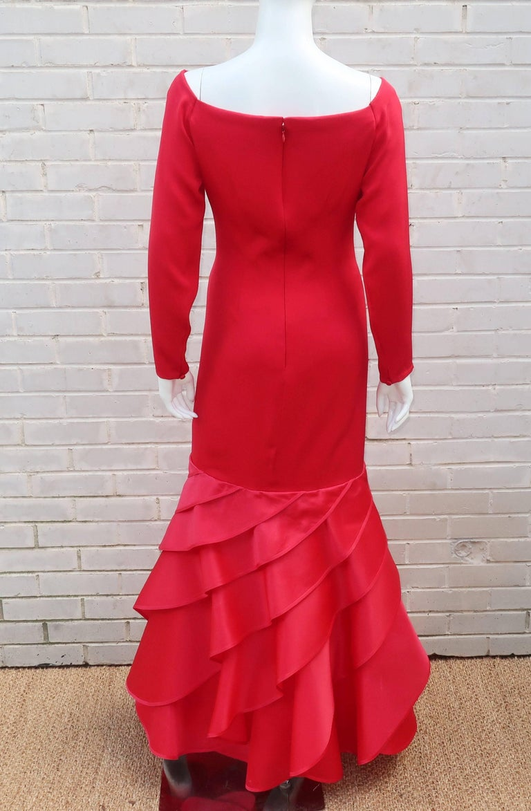 1980's Bill Blass Lipstick Red Silk Evening Dress For Sale 5