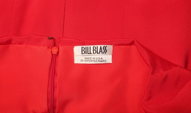 1980's Bill Blass Lipstick Red Silk Evening Dress For Sale 6