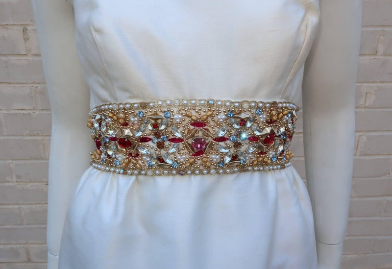 Gray 1960's Kent Originals White Dupioni Evening Dress With Bejeweled Empire Waist For Sale