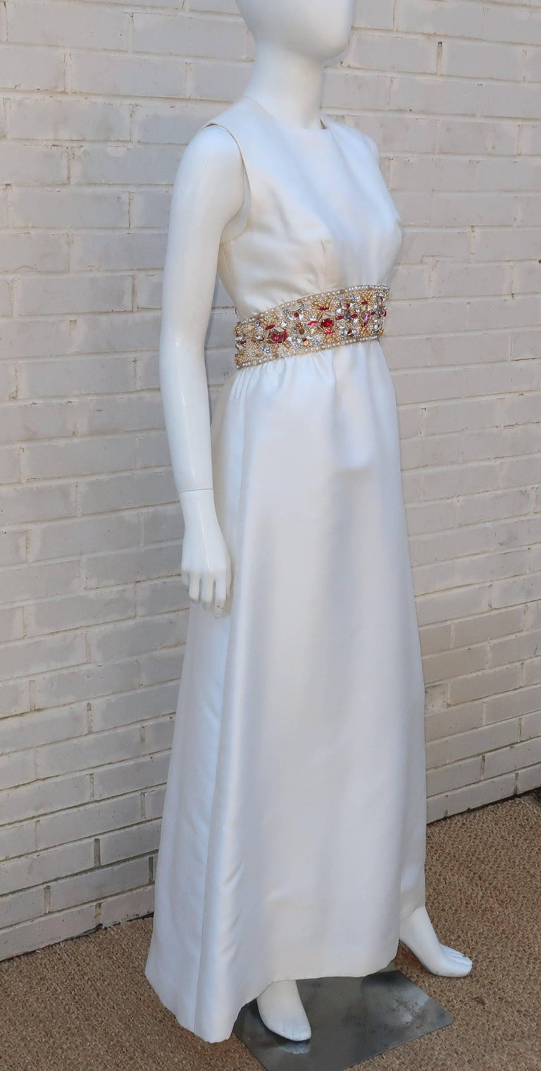 1960's Kent Originals White Dupioni Evening Dress With Bejeweled Empire Waist In Good Condition For Sale In Atlanta, GA