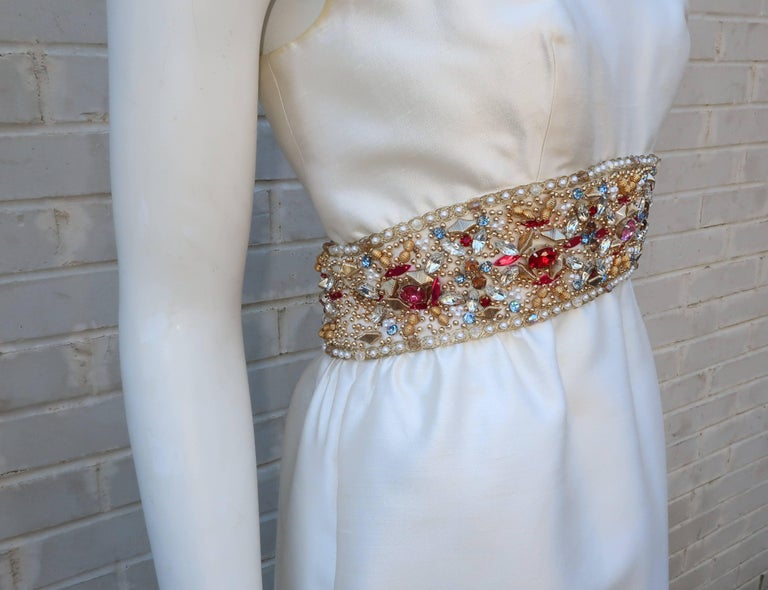 Women's 1960's Kent Originals White Dupioni Evening Dress With Bejeweled Empire Waist For Sale