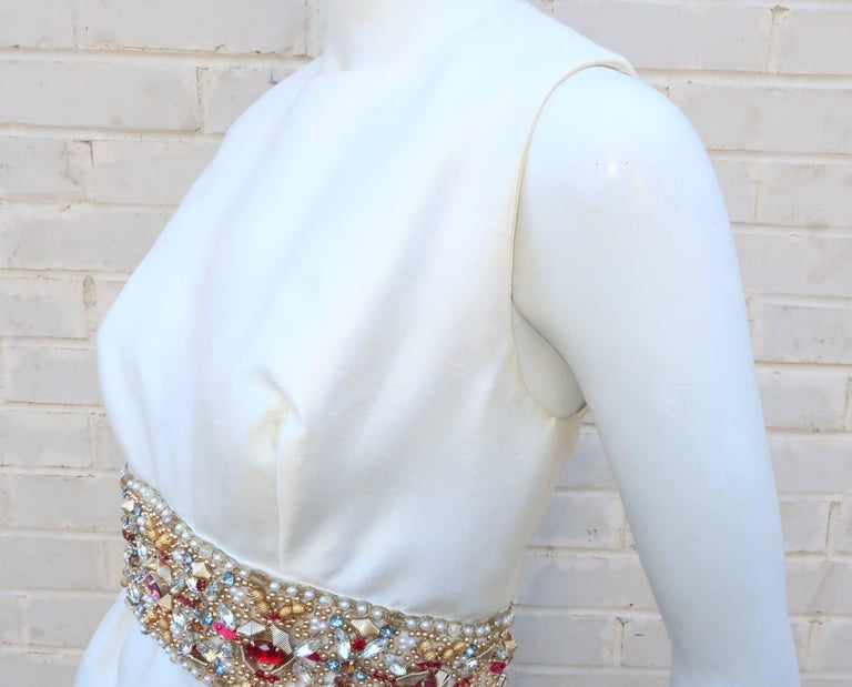 1960's Kent Originals White Dupioni Evening Dress With Bejeweled Empire Waist For Sale 3