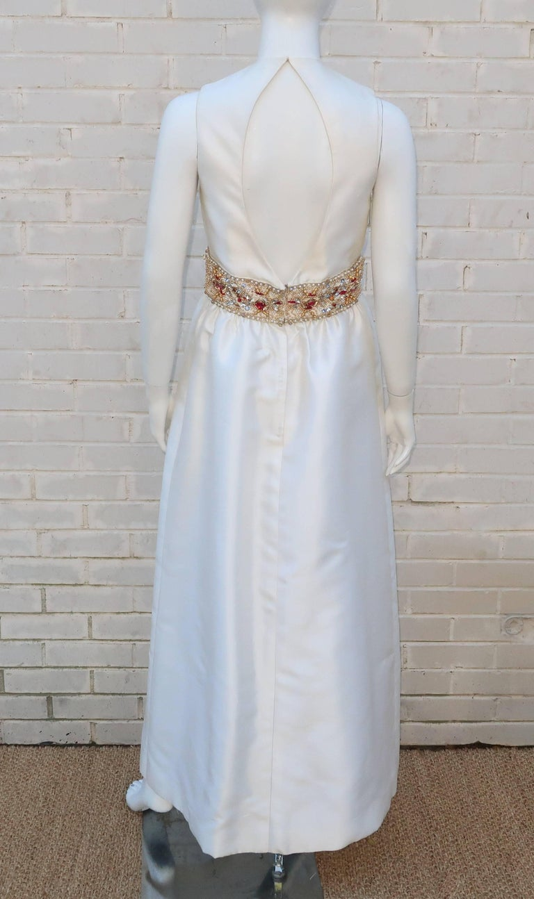 1960's Kent Originals White Dupioni Evening Dress With Bejeweled Empire Waist For Sale 4