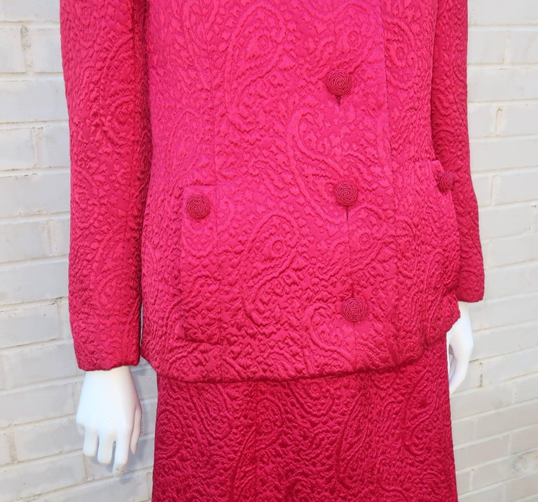 1950's Hannah Troy Fuchsia Quilted Cocktail Dress Suit For Sale 2