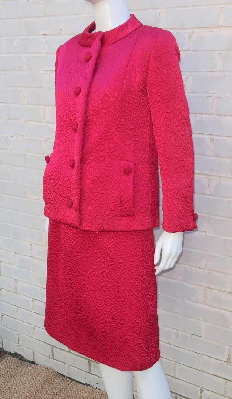 Women's 1950's Hannah Troy Fuchsia Quilted Cocktail Dress Suit For Sale