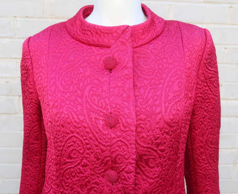 1950's Hannah Troy Fuchsia Quilted Cocktail Dress Suit For Sale 1