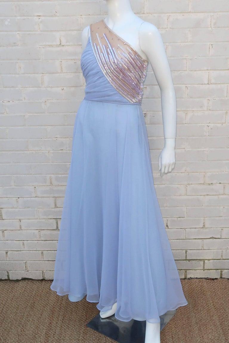Women's 1960's Lilli Diamond Shoulder Baring Sequin & Chiffon Evening Dress For Sale
