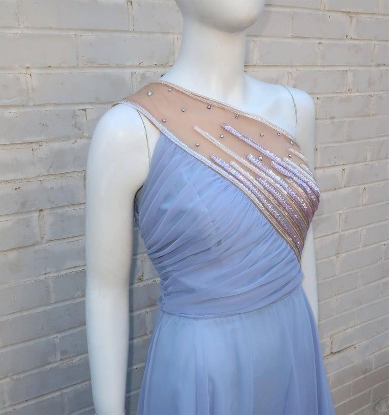 Blue 1960's Lilli Diamond Shoulder Baring Sequin & Chiffon Evening Dress For Sale