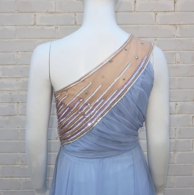 1960's Lilli Diamond Shoulder Baring Sequin & Chiffon Evening Dress For Sale 2