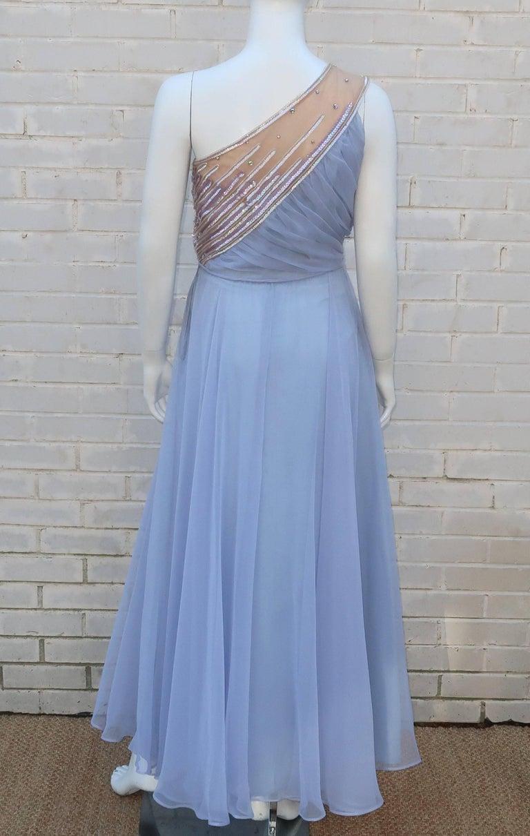 1960's Lilli Diamond Shoulder Baring Sequin & Chiffon Evening Dress For Sale 1