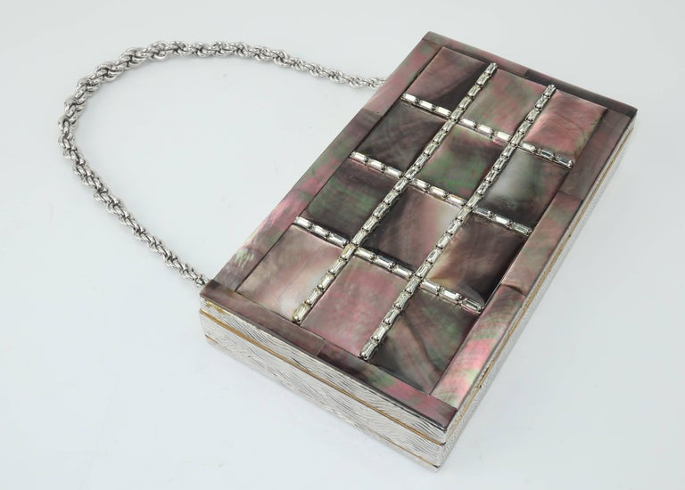 Women's Evans Mother of Pearl Compact Wristlet Handbag, 1950s  For Sale