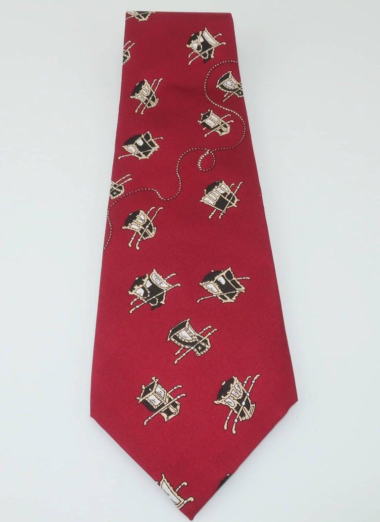 1960's Emilio Pucci Men's Silk Necktie With Royal Carriage Motif For Sale 2