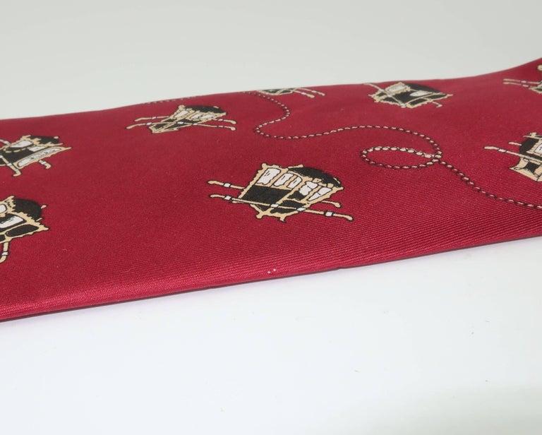 1960's Emilio Pucci Men's Silk Necktie With Royal Carriage Motif For Sale 5