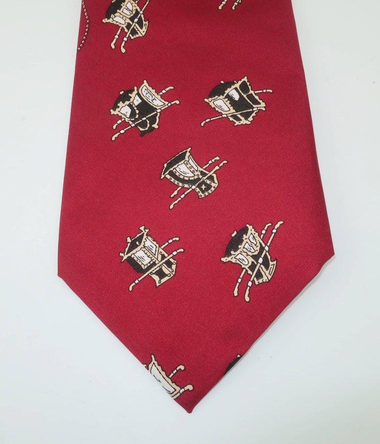 1960's Emilio Pucci Men's Silk Necktie With Royal Carriage Motif For Sale 3