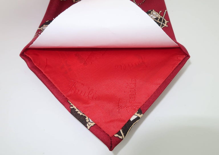 1960's Emilio Pucci Men's Silk Necktie With Royal Carriage Motif For Sale 4