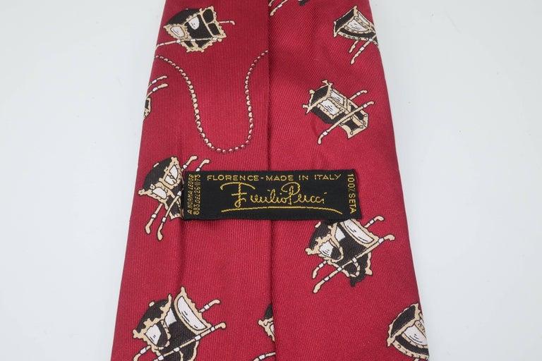 1960's Emilio Pucci Men's Silk Necktie With Royal Carriage Motif For Sale 6