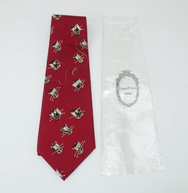 1960's Emilio Pucci Men's Silk Necktie With Royal Carriage Motif In New Condition For Sale In Atlanta, GA