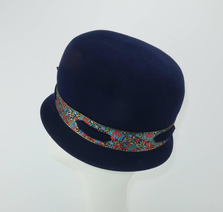 Women's C.1960 Blue Wool Modified Bowler Hat With Brocade Trim For Sale
