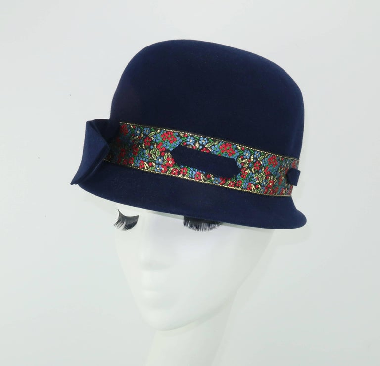 Black C.1960 Blue Wool Modified Bowler Hat With Brocade Trim For Sale