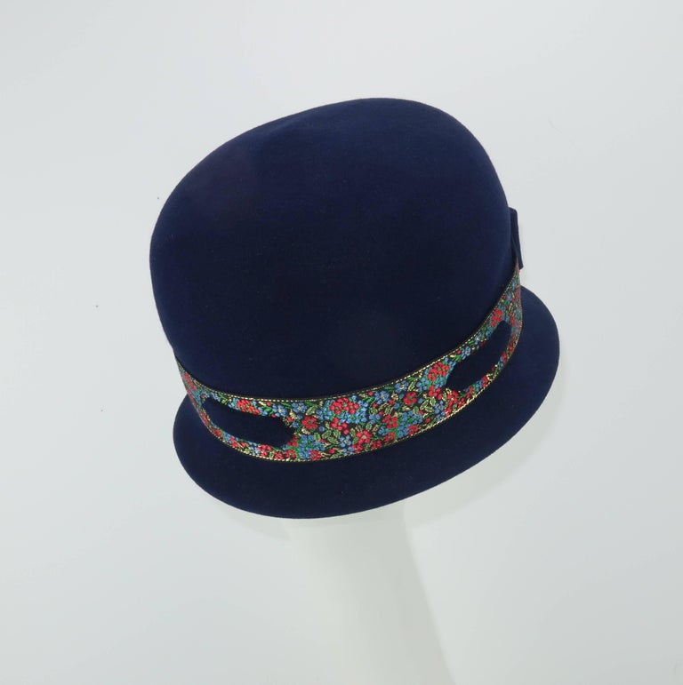 C.1960 Blue Wool Modified Bowler Hat With Brocade Trim For Sale 1