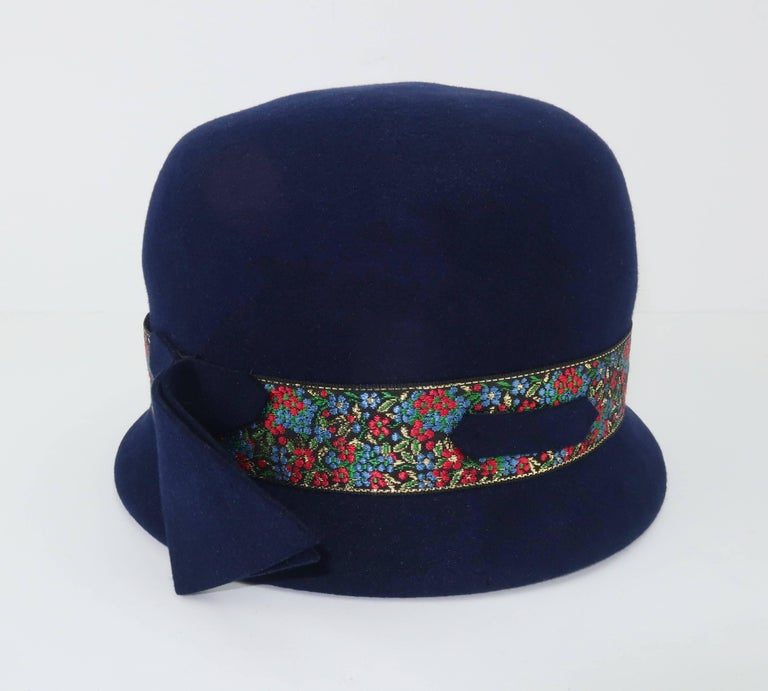 C.1960 Blue Wool Modified Bowler Hat With Brocade Trim For Sale 3
