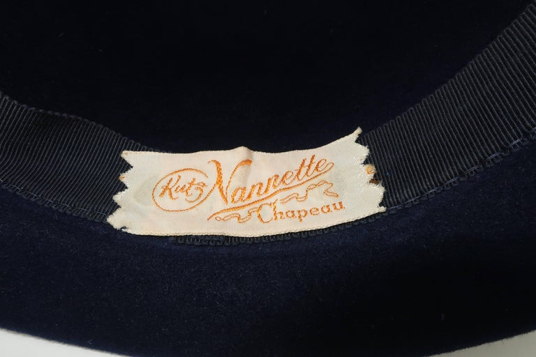 C.1960 Blue Wool Modified Bowler Hat With Brocade Trim For Sale 5