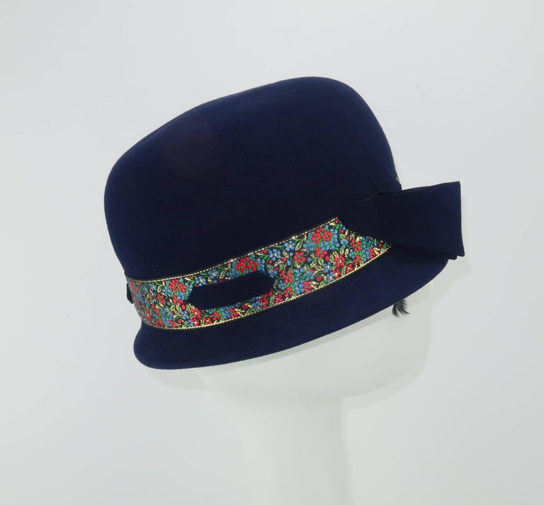 C.1960 Blue Wool Modified Bowler Hat With Brocade Trim For Sale 2