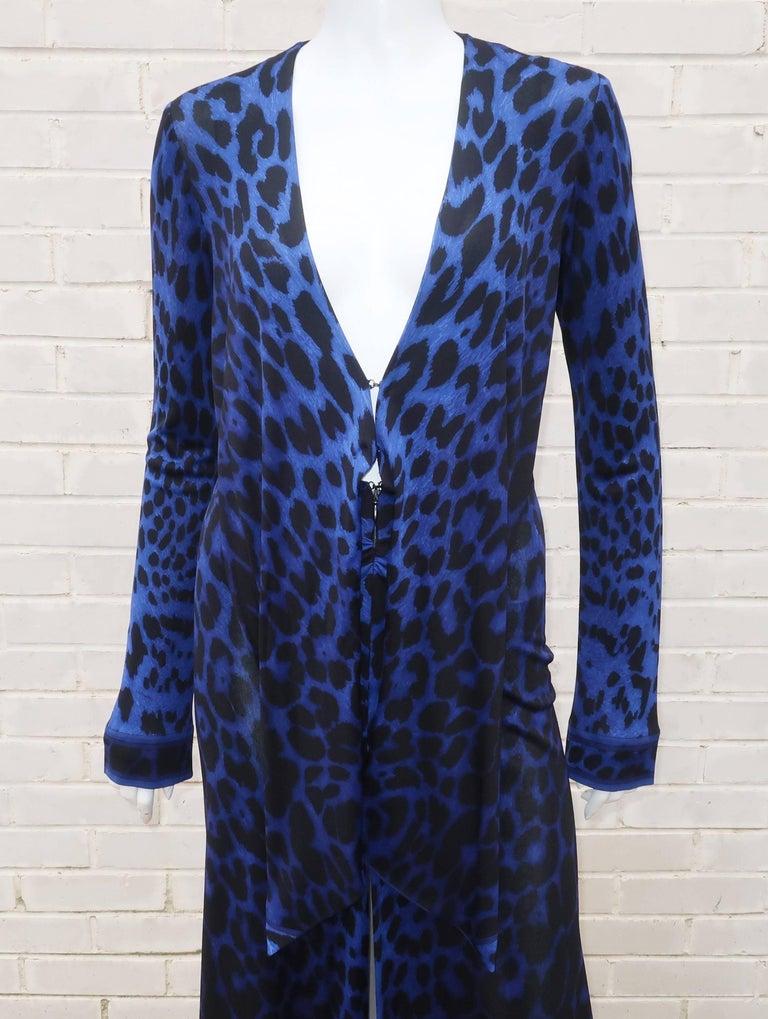 C.1980 Leonard Black & Blue Animal Print Silk Jersey Disco Dress For Sale 5