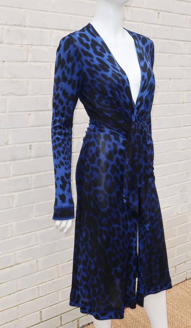 C.1980 Leonard Black & Blue Animal Print Silk Jersey Disco Dress For Sale 1
