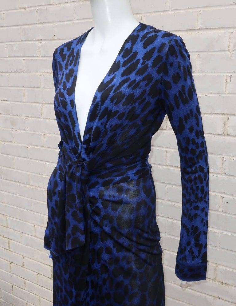 C.1980 Leonard Black & Blue Animal Print Silk Jersey Disco Dress For Sale 2