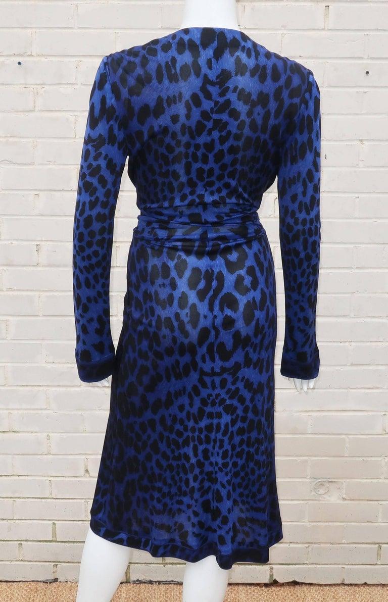 C.1980 Leonard Black & Blue Animal Print Silk Jersey Disco Dress For Sale 4