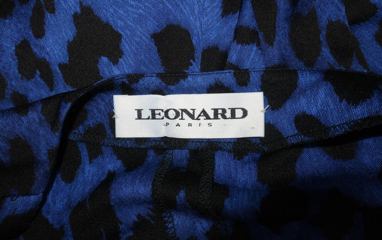 C.1980 Leonard Black & Blue Animal Print Silk Jersey Disco Dress For Sale 6