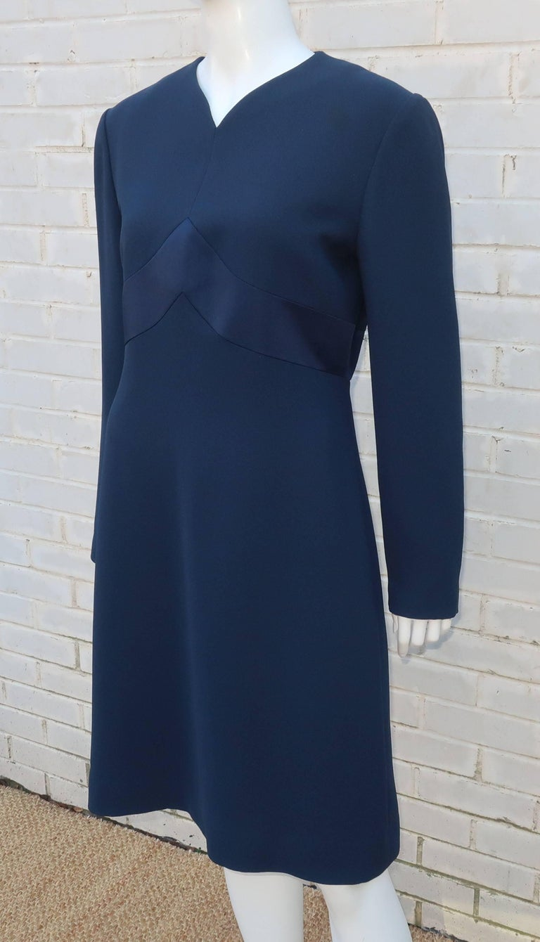 Classic 1980's Carolina Herrera Day to Evening Blue Dress For Sale 1