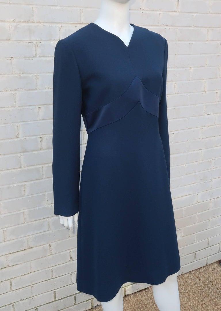 Classic 1980's Carolina Herrera Day to Evening Blue Dress In Good Condition For Sale In Atlanta, GA