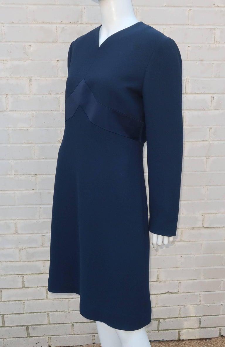 Classic 1980's Carolina Herrera Day to Evening Blue Dress For Sale 2