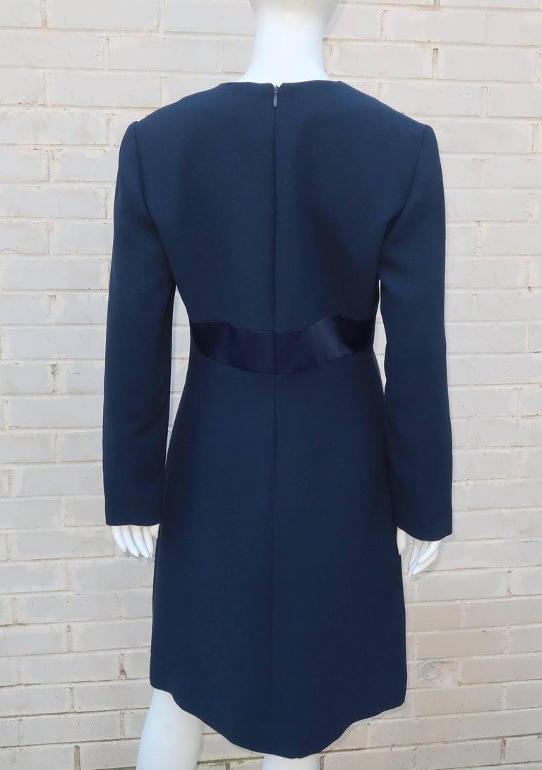 Classic 1980's Carolina Herrera Day to Evening Blue Dress For Sale 3