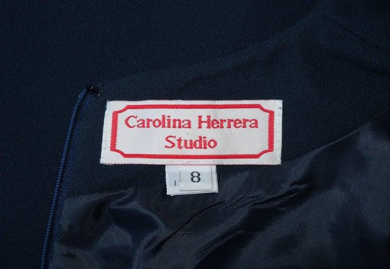 Classic 1980's Carolina Herrera Day to Evening Blue Dress For Sale 4