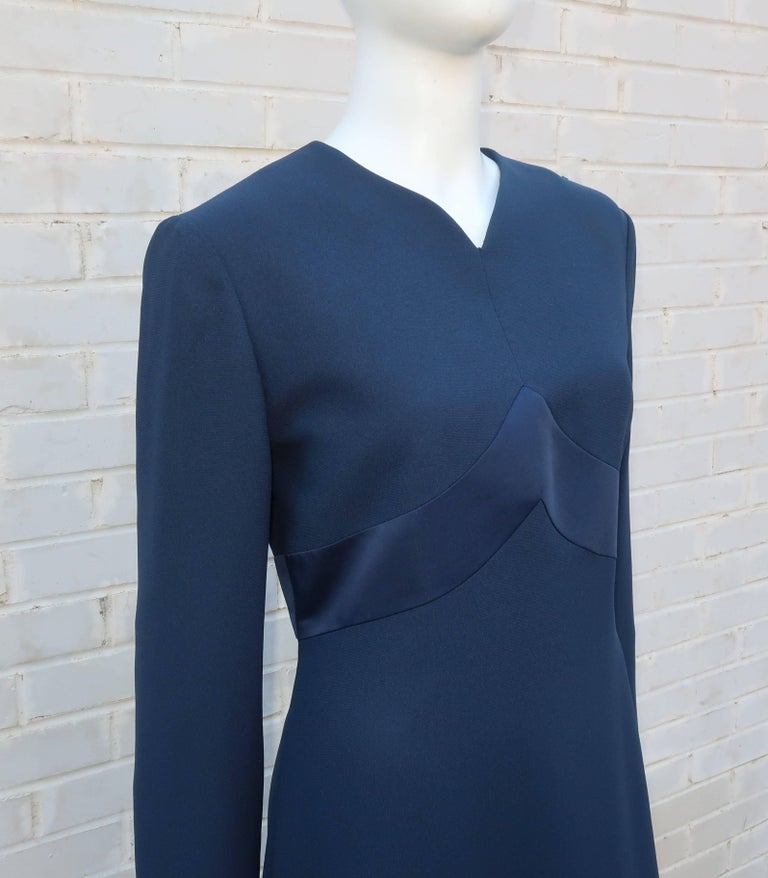 Women's Classic 1980's Carolina Herrera Day to Evening Blue Dress For Sale