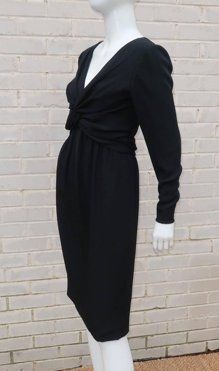 Circa 1980 Bill Blass Black Silk Cocktail Dress With a Twist For Sale 3